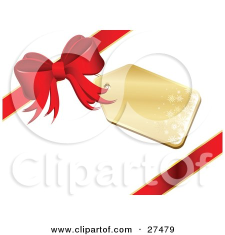Clipart Illustration of a Golden Snowflake Gift Tag On A Red Gift Bow by KJ Pargeter