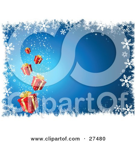 Clipart Illustration of Red Christmas Presents Magically Falling From The Sky Over A Blue Background White White Snowflakes And Grunge by KJ Pargeter