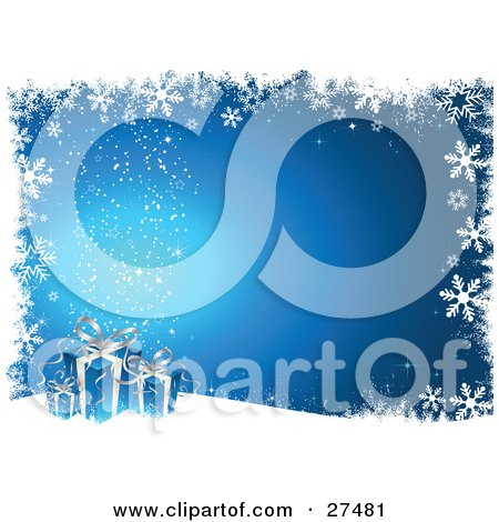 Clipart Illustration of Three Blue And Silver Christmas Presents Resting On A Hill Over A Gradient Background With Twinkles And A Border Of Grunge And Snowflakes by KJ Pargeter