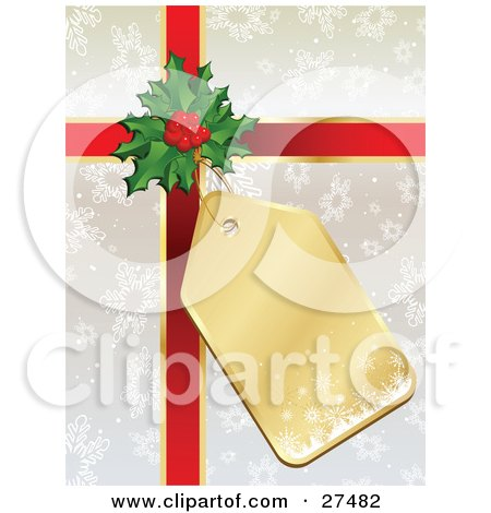 Clipart Illustration of a Gold Snowflake Gift Tag Attached To Holly And Red Ribbon On A Silver Snowflake Gift Wrapped Present by KJ Pargeter