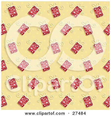 Clipart Illustration of a Background Of Red Christmas Gifts And Star Patterns On Yellow by KJ Pargeter