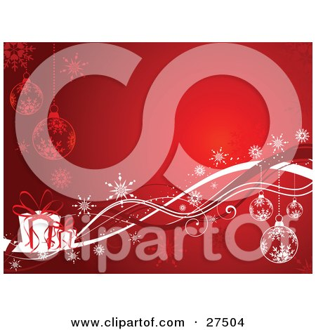 Clipart Illustration of a Glowing Red Background With Snowflake Ornaments, Snowflakes And White Gifts With Red Ribbons by KJ Pargeter