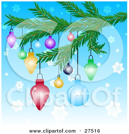 Colorful Christmas Tree Ornaments Hanging From A Tree Branch Over A Blue Snowflake Background Posters, Art Prints