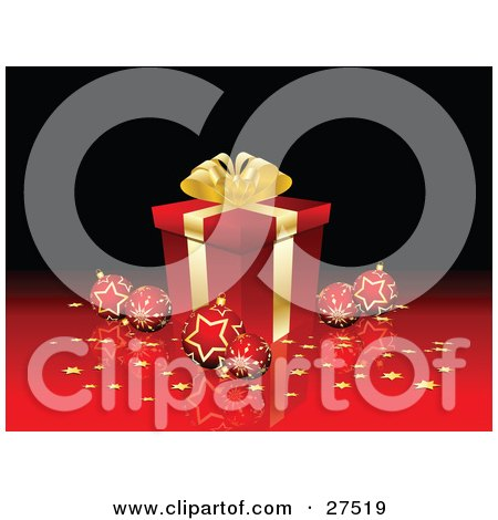 Clipart Illustration of a Red Snowflake And Star Patterned Ornaments And Golden Confetti Surrounding A Gold And Red Christmas Present On A Reflective Surface And A Black Background by KJ Pargeter