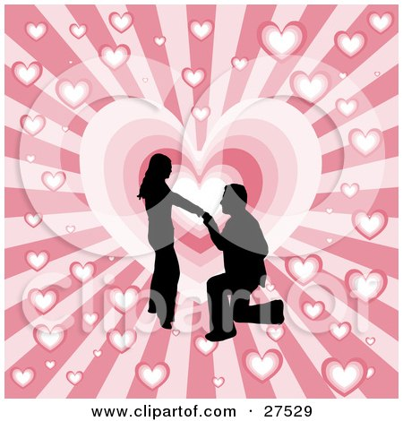 Clipart Illustration of a Black Silhouetted Man On His Knees, Proposing To A Woman Over A Pink Bursting Heart Background by KJ Pargeter