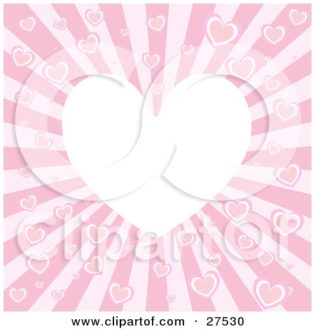 Clipart Illustration of a Blank White Heart Surrounded By Pink Hearts On A Bursting Background by KJ Pargeter