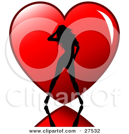 Sexy Silhouetted Woman Standing On A Reflective Surface In Front Of A Big Red Heart Posters, Art Prints