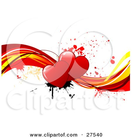 Clipart Illustration of a Couple Of Red Hearts With Black And Red Paint Splatters, On Red And Yellow Waves Over A White Background by KJ Pargeter