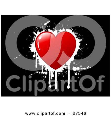 Clipart Illustration of a Red Heart With Dripping White Grunge Over A Black Background by KJ Pargeter