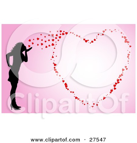 Silhouetted Woman Blowing Kisses That Form A Big Heart On A Pink Background Posters, Art Prints