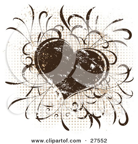Clipart Illustration of a Grunge Brown Silkscreen Heart Over A Dotted Background On White by KJ Pargeter