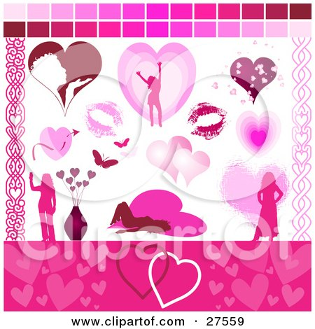 Collection Of Romantic Web Design Elements Of A Woman Blowing A Kiss, Lipstick Kisses, Butterflies, Flowers And Hearts Posters, Art Prints