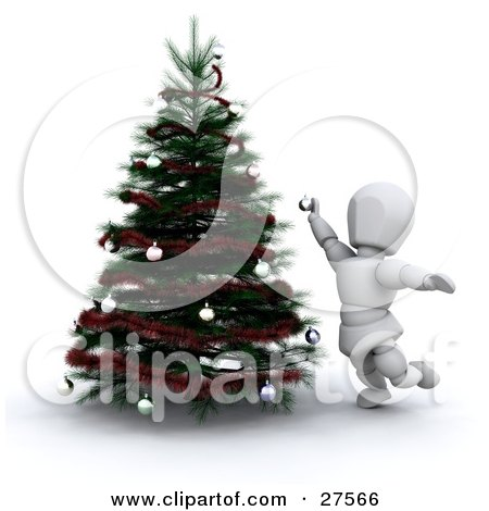 Clipart Illustration of a White Character Reaching While Decorating A Christmas Tree With Ornaments by KJ Pargeter