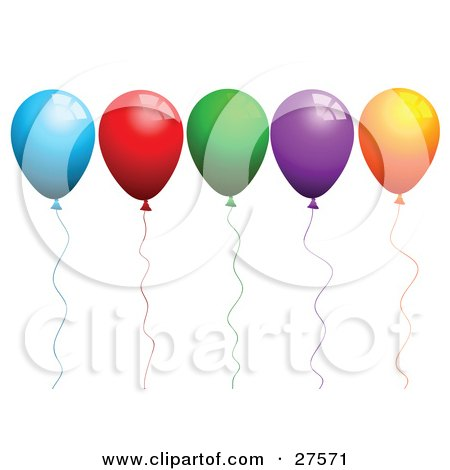 Clipart Illustration of a Row Of Blue, Red, Green, Purple And Orange Party Balloons With Matching Strings by KJ Pargeter