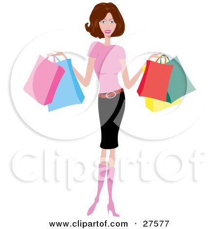 Smiling Slender Caucasian Woman In Pink Boots, A Pink Shirt And Pencil Skirt, Holding Colorful Shopping Bags Posters, Art Prints