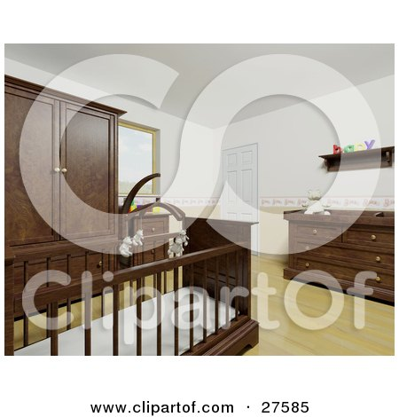 Clipart Illustration of a Baby's Nursery Room With A Teddy Bear Mobile Over The Crib, Wood Flooring And Wood Furniture by KJ Pargeter