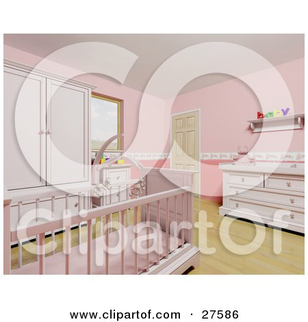 Clipart Illustration of a Pink Baby Girl's Nursery Room With A Teddy Bear Mobile Over The Crib, Wood Flooring And Pink Furniture by KJ Pargeter