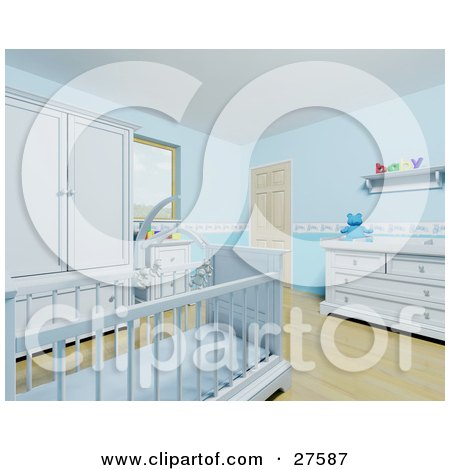 Clipart Illustration of a Blue Baby Boy's Nursery Room With A Teddy Bear Mobile Over The Crib, Wood Flooring And Blue Furniture by KJ Pargeter