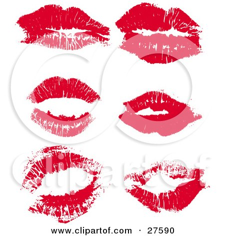Clipart Illustration of a Collection Of Red Lipstick Kisses From A Woman, On A White Background by KJ Pargeter