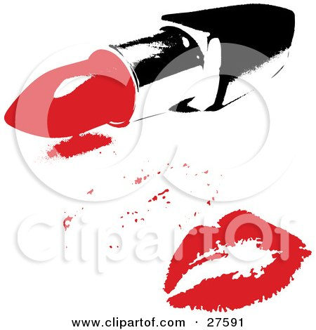 Red Lipstick Kiss From A Woman, On A White Background With A Tube Of Lipstick Posters, Art Prints