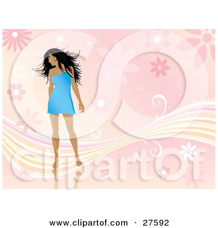 Short Black Dress on Illustration Of A Sexy Black Haired Woman In A Short Blue Dress