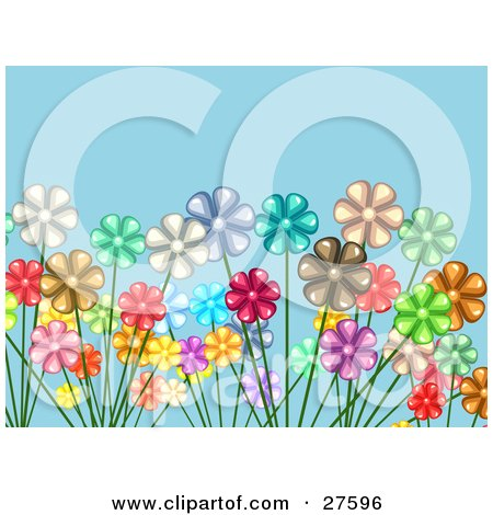 Clipart Illustration of a Crowded Garden Of White, Red, Yellow, Pink, Brown, Green And Purple Flowers Over A Blue Background by KJ Pargeter