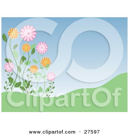 Clipart Illustration of Pink And Orange Wildflowers Growing On A Green Hill, Against A Blue Sky by KJ Pargeter