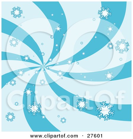 Clipart Illustration of a Snowflakes Falling Over A Swirling Blue Background by KJ Pargeter