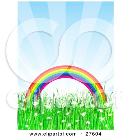 Clipart Illustration of a Colorful Arched Rainbow Over A Grassy Field Of White Daisy Wildflowers, With A Blue Sky by KJ Pargeter