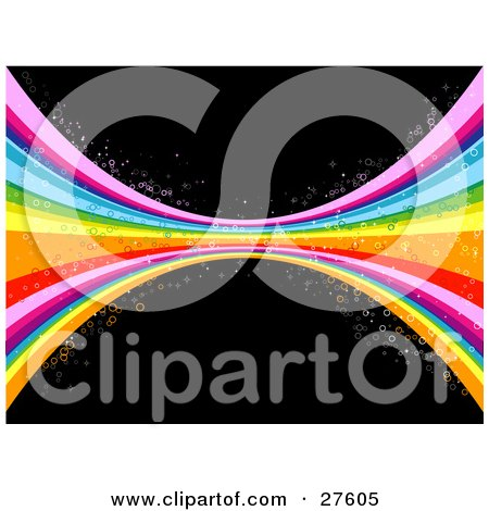 Clipart Illustration of a Pinched Colorful Rainbow With Circles Over A Black Background by KJ Pargeter
