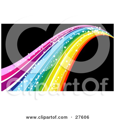 Clipart Illustration of a Colorful Rainbow With Sparkling White Stars, Rushing Off Into The Distance Over A Black Background by KJ Pargeter