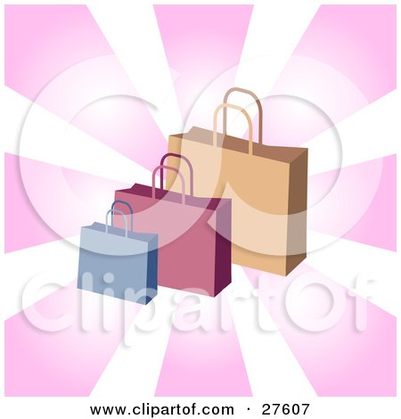 Clipart Illustration of Blue, Pink And Brown Handled Shopping Bags Over A Bursting Pink And White Background by KJ Pargeter