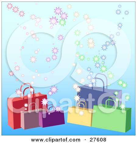 Clipart Illustration of Red, Purple, Yellow, Green And Blue Handled Shopping Bags Over A Gradient Blue Background With Bursts by KJ Pargeter