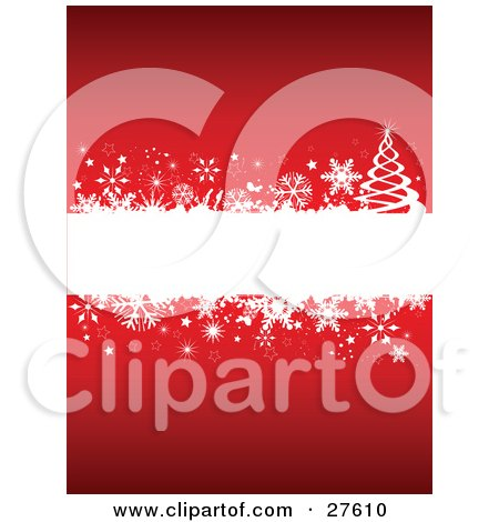 Clipart Illustration of a Blank White Text Box Bordered With Snowflakes, Stars And A Christmas Tree Over Red by KJ Pargeter