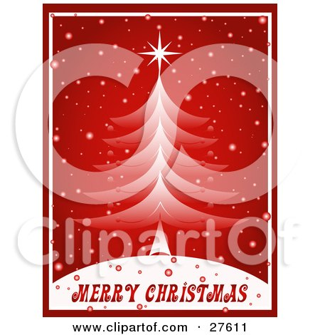 Clipart Illustration of a Red And White Christmas Tree On Top Of A Hill With Snow Falling Down And Merry Christmas Text by KJ Pargeter