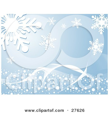 Clipart Illustration of a White Wave With Snow Spanning Over A Blue Background With Big White Snowflakes by KJ Pargeter