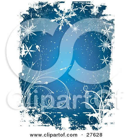 Clipart Illustration of a Blue Background With Ripped Taped Grunge Textures, White Vines, Snow And Snowflakes by KJ Pargeter