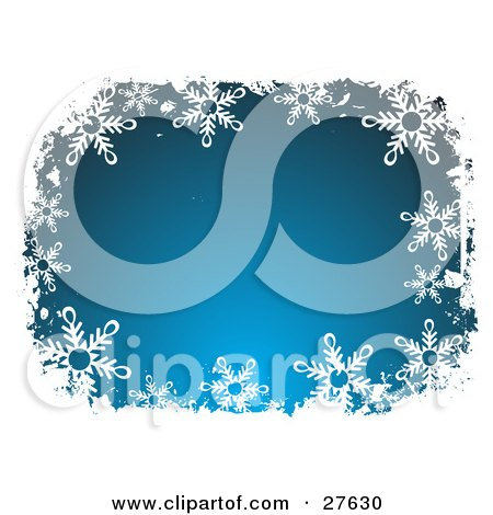 Clipart Illustration of a White Snowflake Border Around A Gradient Blue Center by KJ Pargeter