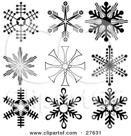 Clipart Illustration of a Collection Of Nine Black And White Snowflakes With Interesting Designs by KJ Pargeter