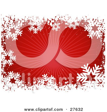 Clipart Illustration of a Border Of White Snowflakes And Grunge With A Bursting Red Background by KJ Pargeter