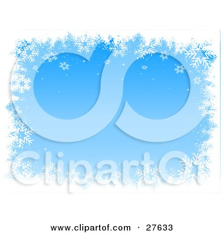 Clipart Illustration of a Border Of White Snowflakes Bordering A Blue Background With Gradient Tones by KJ Pargeter