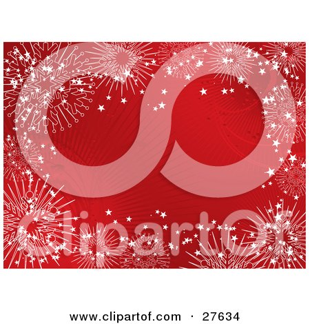 Clipart Illustration of Large White Intricate Snowflakes Bordering A Red Bursting Background by KJ Pargeter
