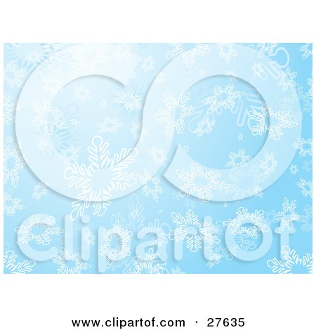 Clipart Illustration of Big White Snowflakes Falling Down In A Blue Sky by KJ Pargeter