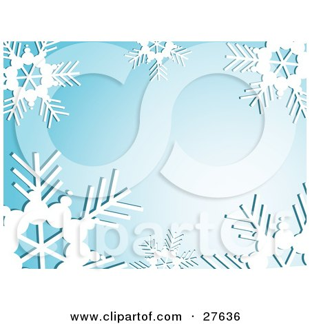 Clipart Illustration of a Bold White Snowflakes Bordering A Blue Background With A Burst Of White Light by KJ Pargeter