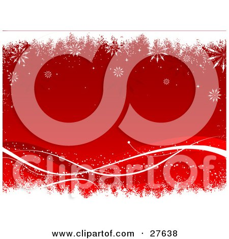 Clipart Illustration of a Red Background With White And Red Waves Along The Bottom, Bordered By White Grunge And Falling Snowflakes by KJ Pargeter