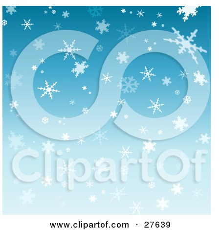 Clipart Illustration of a Patterned Blue Background Of White And Light Blue Snowflakes Falling by KJ Pargeter