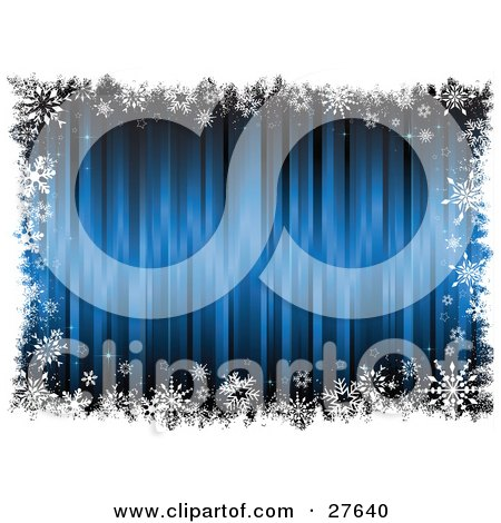 Clipart Illustration of a Blue Blurred Background Bordered By White Grunge And Snowflakes by KJ Pargeter