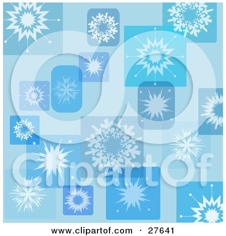 Clipart Illustration of a Blue Background Of Snowflakes In Rectangles And Squares by KJ Pargeter