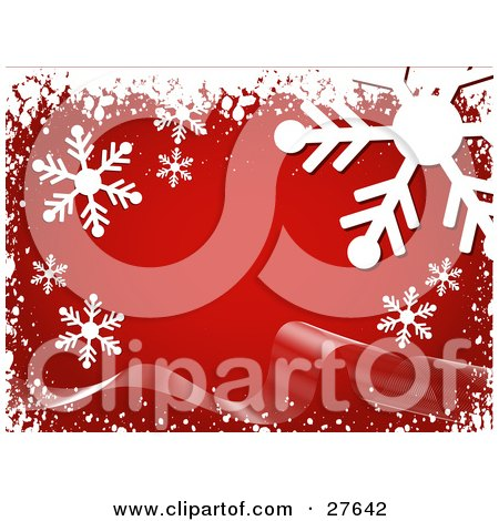 Clipart Illustration of Big White Snowflakes And Snow Over A Red Background With A Ribbon Wave by KJ Pargeter
