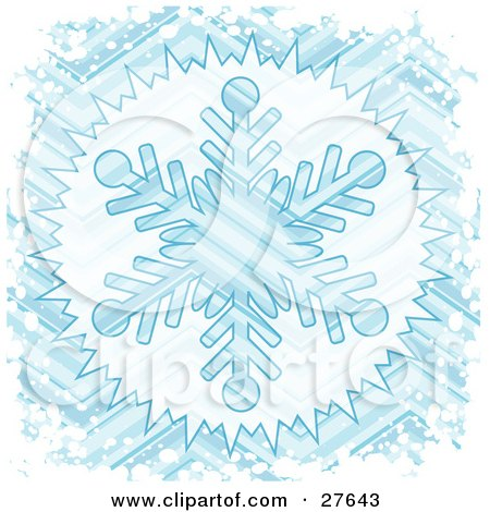 Clipart Illustration of a Big Blue Striped Snowflake Background Bordered With White Grunge Snow by KJ Pargeter